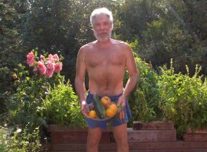 Robby K with his daily summertime heirloom garden harvest